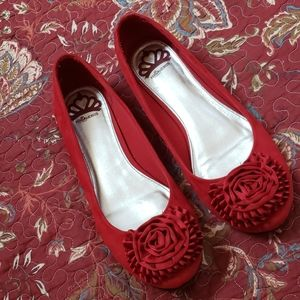 Red Faux Suede Rosette Flats